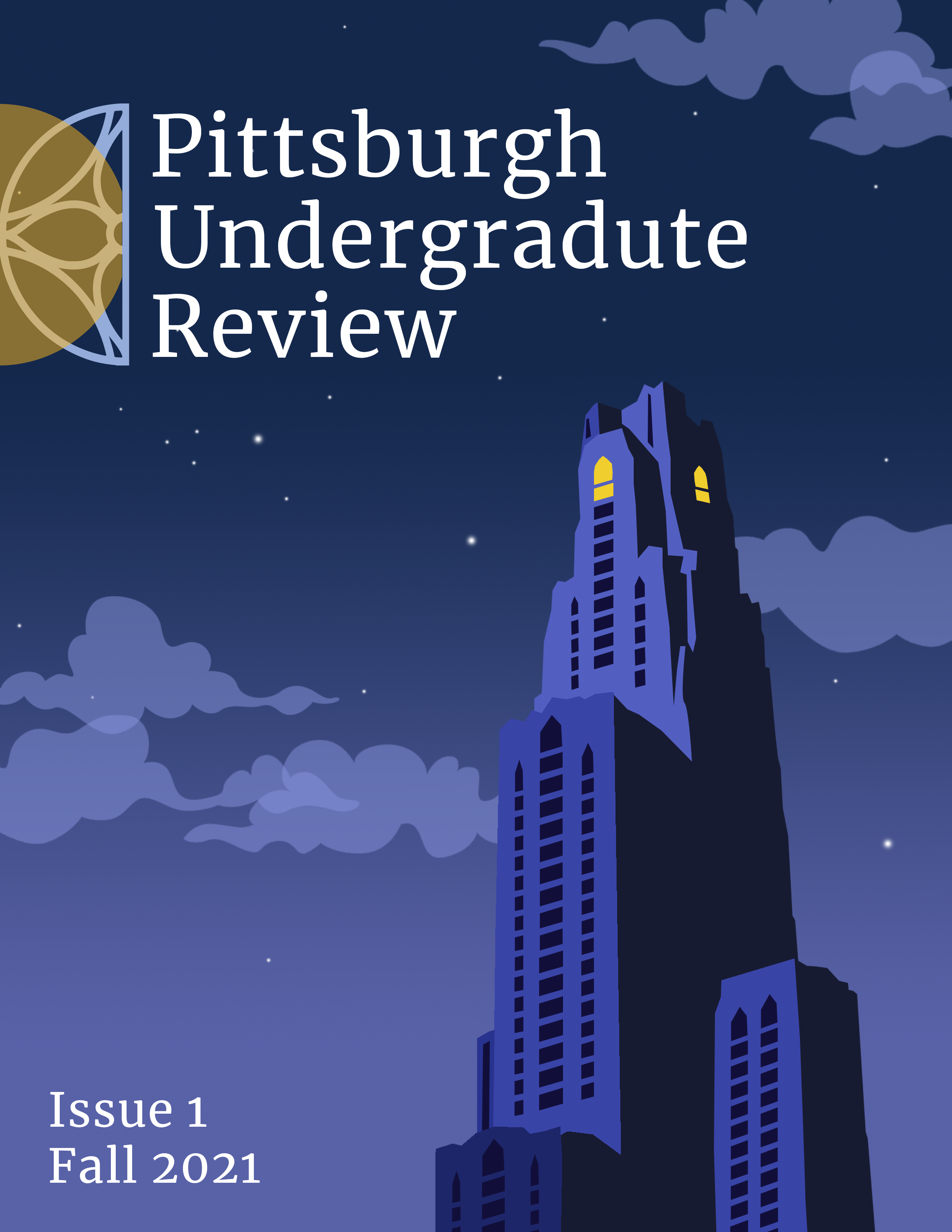 Cover image of issue 1. View of Cathedral of Learning against a night sky, with PUR logo. Light appears on on the 36th floor.
